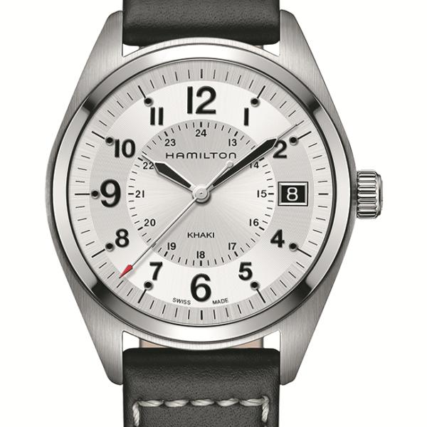 Hamilton Khaki Field Silver Dial Black Leather H68551753